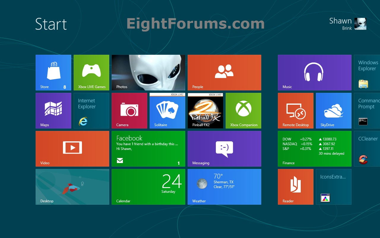 Windows start page