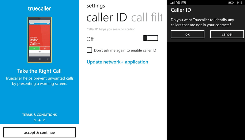 truecaller callerid screens