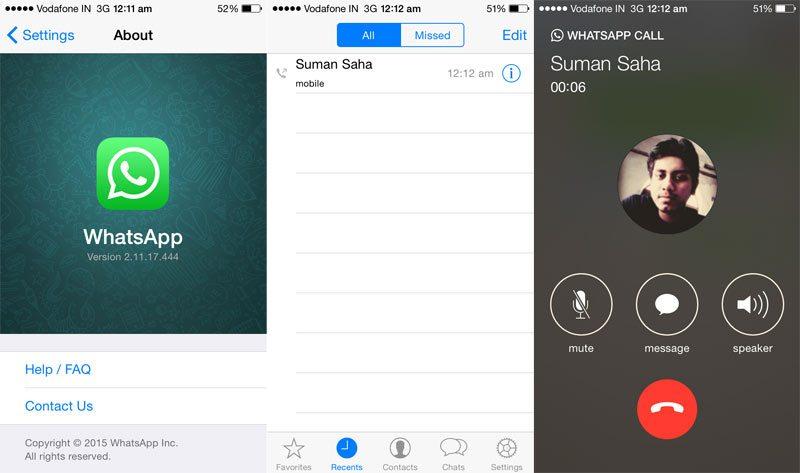 whatsapp ios voice calling-screenshots