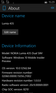 Lumia 435 device information