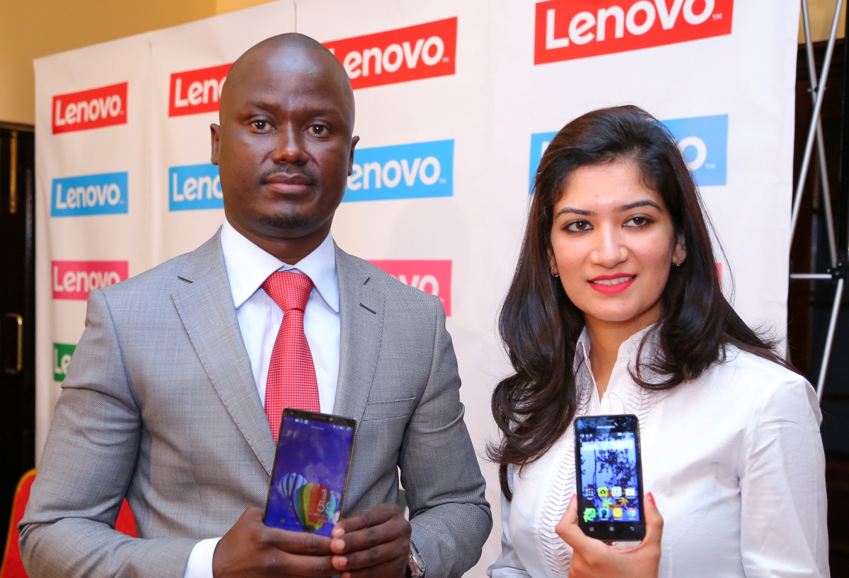 Danish Oyugi the Business Head- Lenovo East Africa and Shikha Monga the Regional Marketing Manager during the Lenovo Smartphones Launch in Kenya. (2)