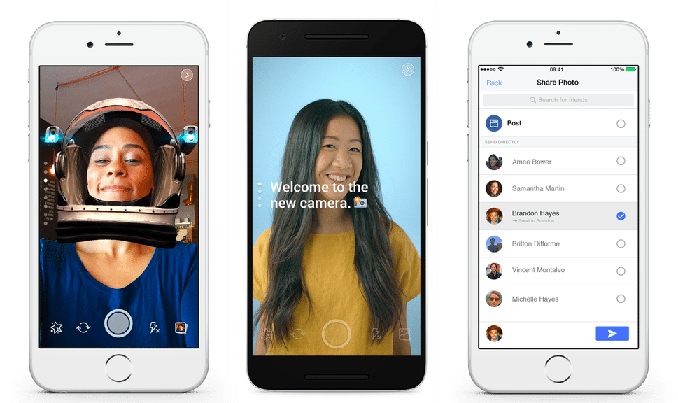 Facebook Camera snapchat features