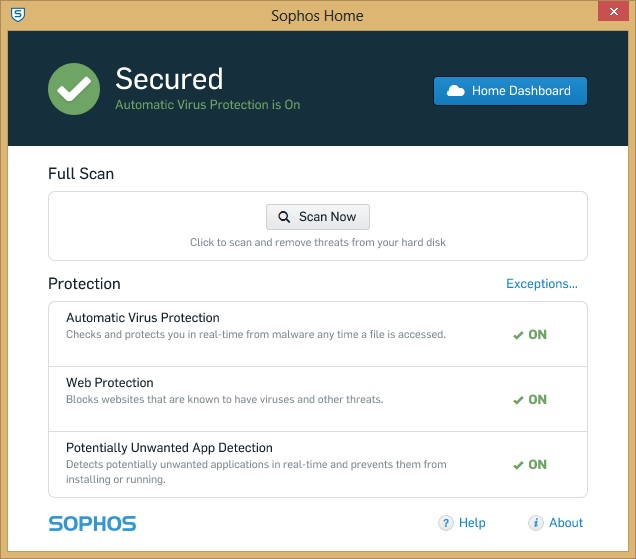Sophos Home Interface