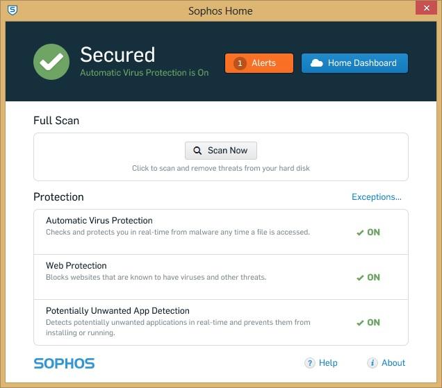 Sophos Home alerts
