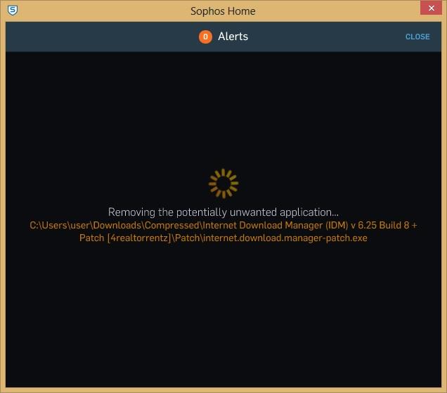 Sophos Home removing virus