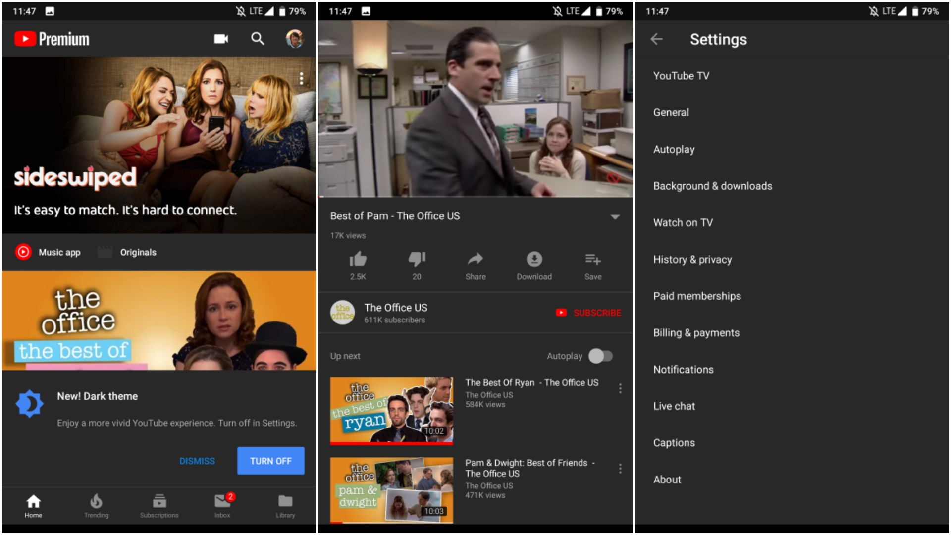 YouTube for Android dark mode