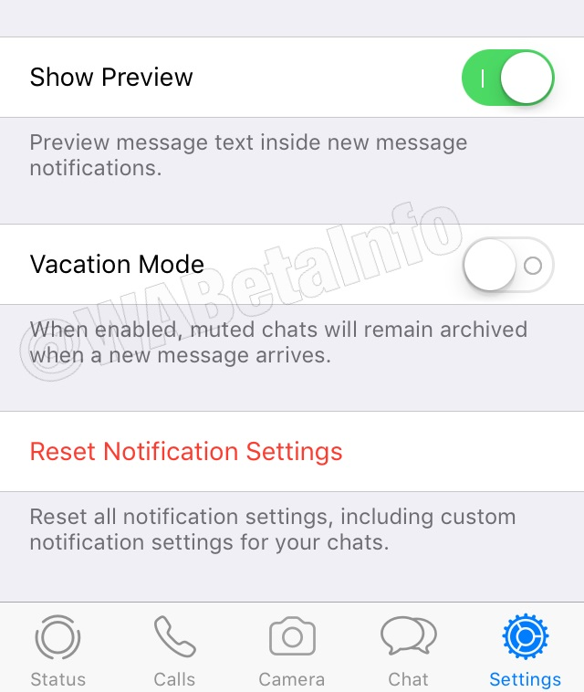 WhatsApp vacation mode