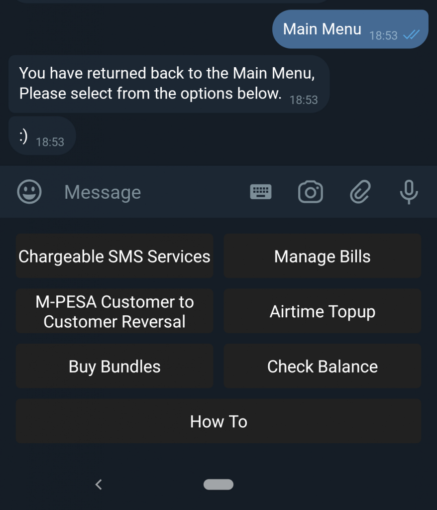 Zuri chatbot menu