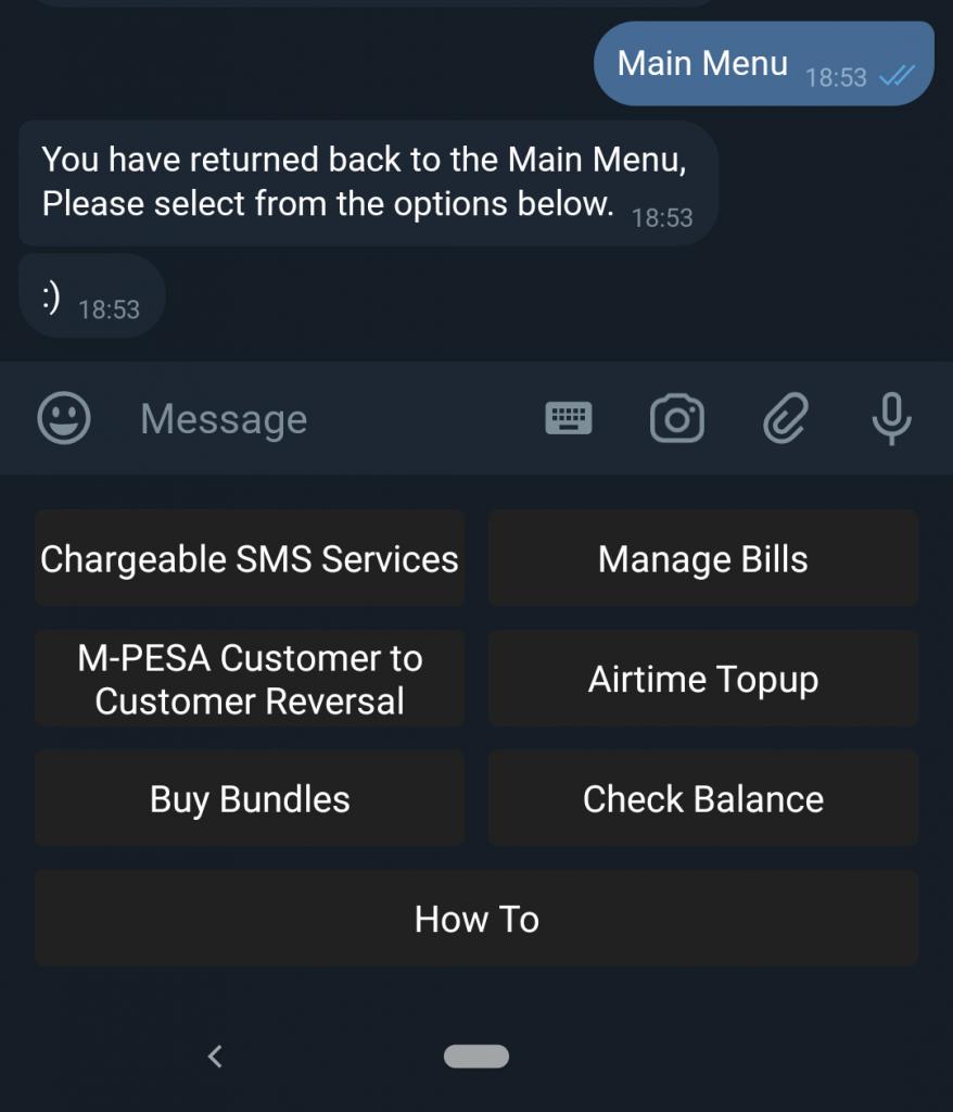 Zuri chatbot menu