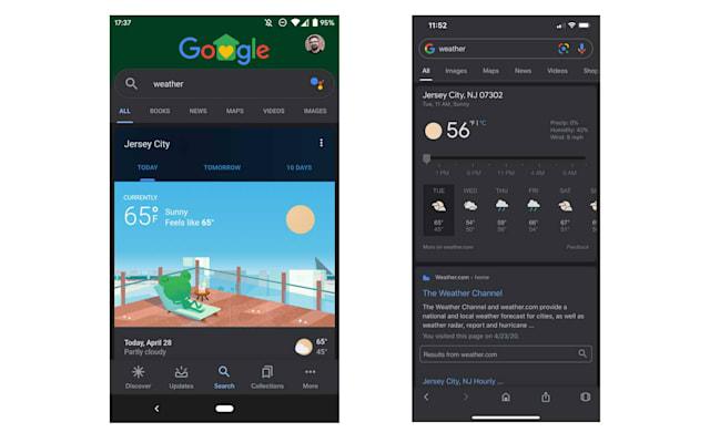 Google Search app dark mode UI